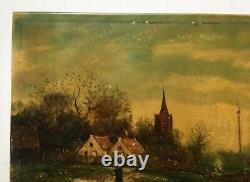 Tableau ancien signé, Peinture sur porcelaine, Vue de port animé, Bateaux, XIXe