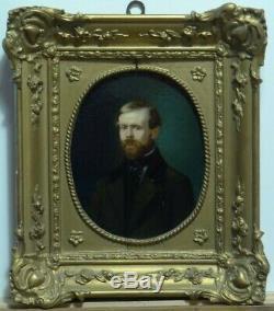 Tableau ancien, très beau portrait d'homme ovale XIX°