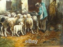 Tableau ancien troupeau de moutons à la bergerie (HST), signé d'après A. CORTES