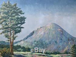 Tableau ancien volcan puy de dome peinture signature volcanologie Auvergne