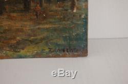 Tableau arbre ancienne peinture à l'huile sur panneau de carton signé TIMOSHENKO