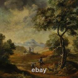 Tableau cadre peinture paysage personnages huile sur toile style ancien italien
