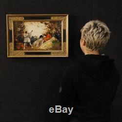 Tableau huile sur panneau peinture paysage romantique personnages style ancien