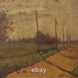 Tableau huile sur tablette peinture sign paysage style ancien impressioniste