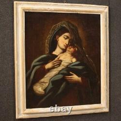 Tableau huile sur toile ancienne peinture Vierge avec enfant religieux 700