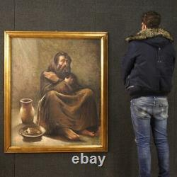 Tableau huile sur toile cadre portrait peinture italienne signée style ancien