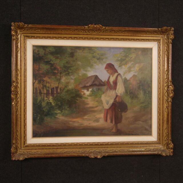 Tableau Huile Sur Toile Peinture Signé Castellani Cadre Style Ancien Paysage