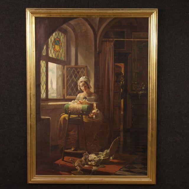 Tableau Huile Sur Toile Peinture Signé Traverso Style Ancien Scène D'intérieur