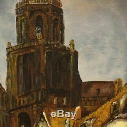 Tableau huile toile peinture néerlandais paysage style ancien impressionniste XX