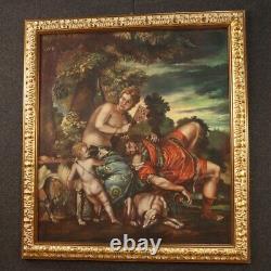 Tableau italien huile sur toile peinture mythologique avec cadre style ancien
