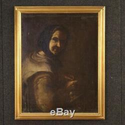 Tableau italien peinture ancien huile sur toile portrait femme cadre 700
