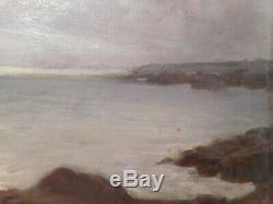 Tableau marine ancien peinture Hippolyte Dominique BERTEAUX Bretagne mer océan