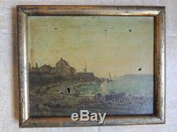 Tableau marine ancien, peinture à l'huile sur toile, marqué 1866