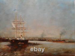 Tableau marine peinture Paul BOUTRY port voilier navire bateau vapeur ancien