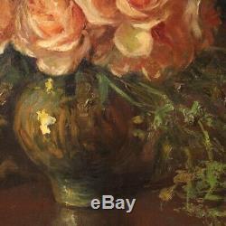 Tableau nature morte peinture signé huile sur toile style ancien avec cadre