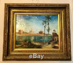 Tableau orientaliste ancien peinture huile paysage animé