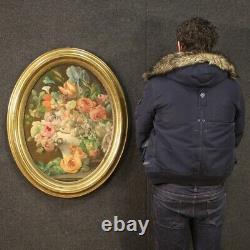 Tableau ovale peinture ancienne huile sur toile nature morte 800 19ème siècle