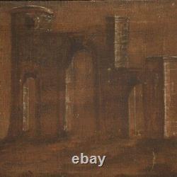 Tableau paysage avec architectures huile sur toile peinture ancienne 800