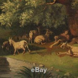 Tableau paysage de campagne peinture huile sur toile style ancien cadre xxème