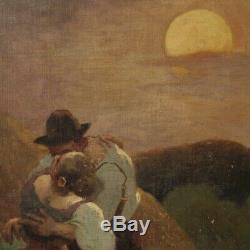 Tableau paysage huile sur toile peinture romantique signé et daté style ancien