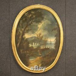 Tableau paysage marine peinture ancienne huile sur toile cadre 700 18ème siècle