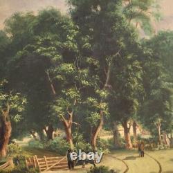 Tableau paysage peinture huile sur toile paysage style ancien avec cadre ancien