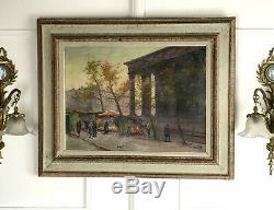 Tableau /peinture Ancienne / Huile Sur Toile Signé (marché Au Fleurs A Paris)