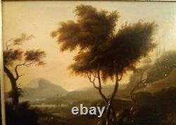 Tableau peinture Ancienne Paysage Italien sur panneau