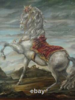 Tableau peinture Charles Sasso cheval équestre ancien