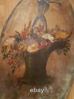 Tableau peinture ancien Panier Fleuris sur panneau ancien