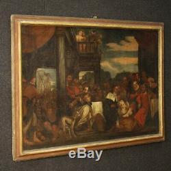 Tableau peinture ancien italien huile toile religieux scène biblique cadre 700