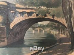 Tableau peinture ancienne, Pont Paris, XXe, old painting Paris