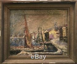 Tableau peinture ancienne Port de Saint Tropez XXe old painting