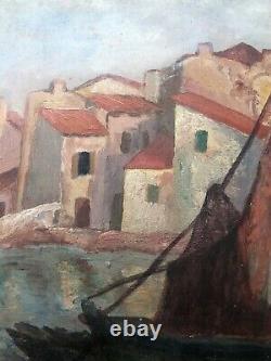 Tableau peinture ancienne St Tropez début XXe