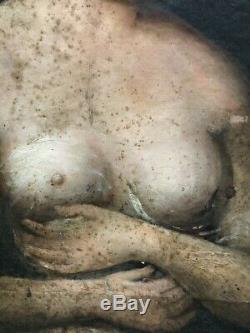 Tableau peinture ancienne XIXe portrait femme, old painting woman