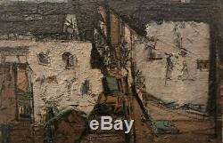 Tableau peinture ancienne XXe art brut abstraction painting 60s
