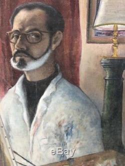 Tableau peinture ancienne autoportrait peintre 1967