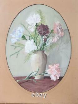 Tableau peinture ancienne bouquet de pivoines