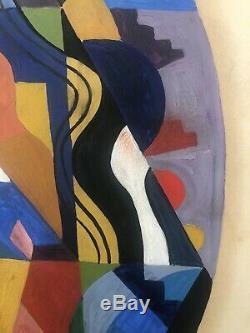 Tableau peinture ancienne composition cubiste