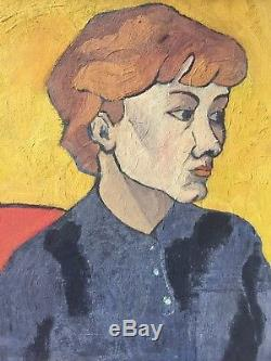 Tableau peinture ancienne fauve cadre Montparnasse sublime portrait féminin