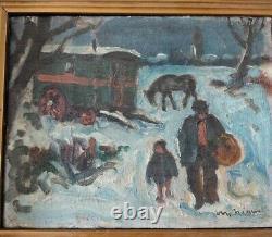 Tableau peinture ancienne huile signé, paysage neige roulotte gitans hst
