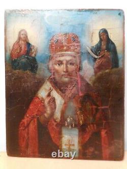 Tableau peinture ancienne icone russe 19 siècle Thaumaturge Saint Nicolas Vierge