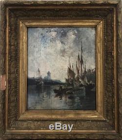 Tableau peinture ancienne marine painting signé Duthoya