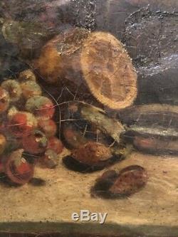 Tableau peinture ancienne nature morte à la pastèque still life XVIIIe