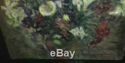 Tableau peinture ancienne nature morte fleurs signée ecole française vers 1900