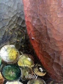Tableau peinture ancienne nature morte, old painting steel life