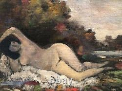 Tableau peinture ancienne nu feminin XXe