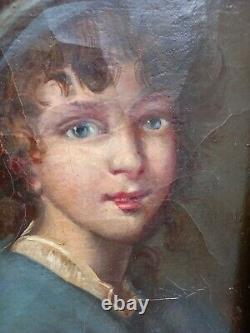 Tableau peinture ancienne portrait huile sur toile XIXe
