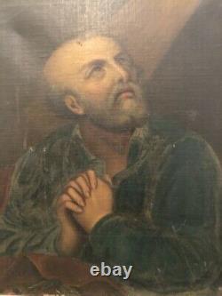Tableau peinture ancienne religieuse Saint Pierre old painting