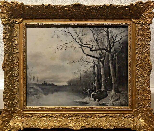Tableau Peinture Cadre Ancien 19è Xixè Pley Grisaille Paysage Réalisme Rare